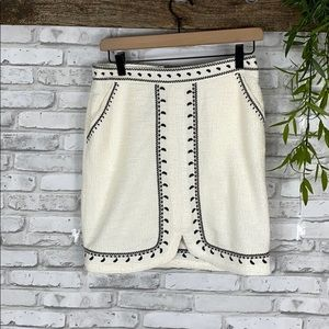 Dolan Cream and black knit skirt size small